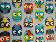 OWLS HOOT MULTI COLORED OWL BLUE COTTON FLANNEL FABRIC FQ