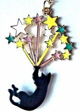 MAGIC BLACK CAT NECKLACE cute kitty sparklers fireworks stars balloon pendant H6