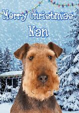 Airedale Terrier Christmas NAN  A5 Xmas Greeting Card Personalised PIDXM72