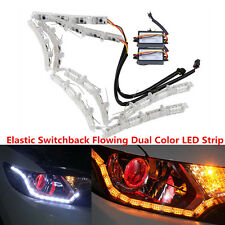 2x Switchback Flowing LED Strip Light White/Amber For Headlight DRL &Turn Signal