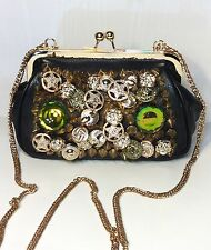 Navie Women's Small Black & Gold Spiked Moto Small Chain Purse Handbag Clutch