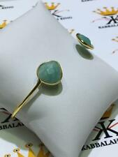 18k Yellow Gold Sterling Silver Green Quartz Stone Cuff Bangle Bracelet Gift