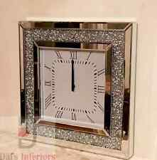 Stunning Diamond Crystal Bevelled Mirrored Glass Square WallClock 50x50cm Silver