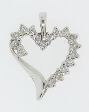 10K Solid White Gold .50ctw Partial Diamond Outlined Open Heart Pendant Charm
