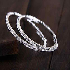 Women Crystal Diamante Rhinestone Silver Plated Hoop Round Earring Jewelry Hot