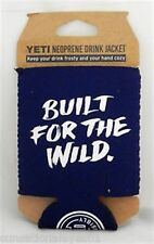 AUTHENTIC YETI COOLERS BUILT FOR THE WILD LOGO BLUE NEOPRENE KOOZIE CAN COOLER