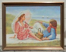 MAGNIFICENT SIGNED ON CANVAS PAINTING OF THE YOUNG COUPLE BY THE BEACH