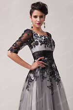 Vintage Applique Dress Long Formal Wedding Party Gown Bridesmaid Evening DRESSES