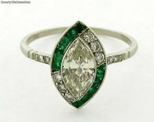 Art Deco Marquise Diamond Emerald Platinum Ring