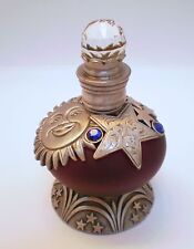 GLASS PEWTER CRYSTAL PERFUME FROSTED PURPLE MOON STARS/BLUE CRYSTALS