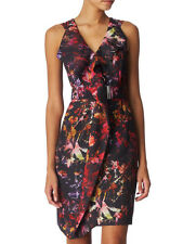 KAREN MILLEN Black Red Multi Floral Paint Splash Print Belted Ruffle Dress UK6