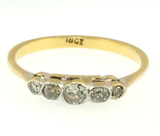 18Ct Yellow Gold & Platinum Old Cut Diamond(0.20ct) Eternity Ring Size (P 1/2)