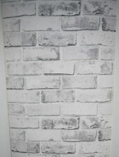 DEBONA WHITE BRICK PATTERN REALISTIC FAUX EFFECT MURAL WALLPAPER x