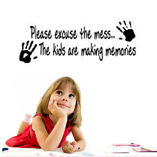 Please Excuse The Mess Kids Decor Vinyl Wall Decal Quote Sticker Wallpaper Mural