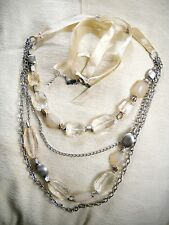 4-STRAND PALE YELLOW FAUX CRYSTAL & SILVER TONE CHAIN-LINK BELLY DANCING BELT
