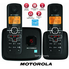 Motorola Digital Wireless 2 Handsets Cordless Home Phone System DECT Black L702M