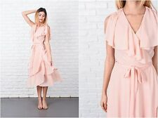 Vintage 60s 70s Light Pink Boho Dress Cape Sleeves Slouchy Draped Tiered XS S