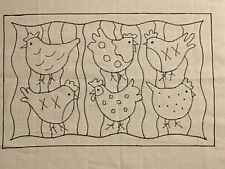 Primitive Rug Hooking Pattern, hens, monks cloth, 14 x 22 inches