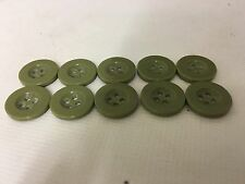 10 Light Olive Drab Green Military Style Plastic Buttons 15mm, surplus, army