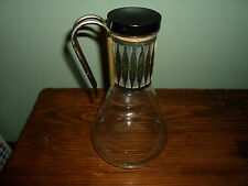 Vintage Pyrex? Glass Pitcher/Carafe/Decanter w Cork Stopper & Brass Handle -Deco