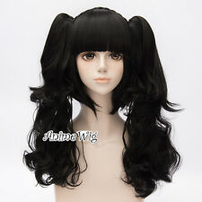 Gothic Style Lolita Black Women Anime Cosplay Hair Wig + 2 Long Curly Ponytails