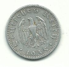 VERY NICELY DETAILED 1935 A GERMAN GERMANY NAZI 50 PFENNIG COIN-GUS923