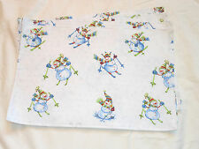 Christmas Holiday Snow Skiing Snowman Silver Glitter Snowflake Set of 4 Placemat