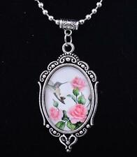 Wholesale Vintage Flowers Cabochon Tibetan Silver Glass Chain Pendant Necklace