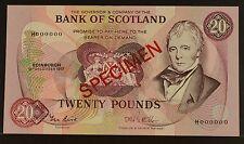 BOS SPECIMEN NOTE £20 TWENTY POUNDS 15 DEC 1987 SC145E  P114ES UNC RARE BANKNOTE