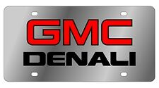 New GMC Denali Red Logo Stainless Steel License Plate