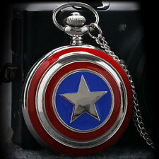 New Captain America Popular Quartz Pocket Watch Avengers Shield Chain Super Cool