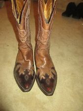 FANTASTIC MENS SENDRA BROWN 2 TONE LEATHER WESTERN BIKER COWBOY BOOTS 8.5 LQQK!