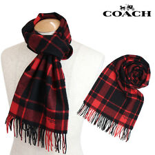 "NWT Men's Coach Red Black Plaid Check Wool Cashmere Blend 72""* x 12"" Scarf 85858"