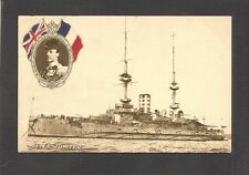 POSTCARD:  HMS JUPITER - BRITISH ROYAL NAVY WW-1 BATTLESHIP & ADMIRAL JELLICOE