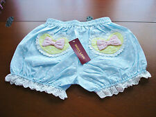 Bodyline Sweet Lolita Sax Blue Polka Dot Cotton Mini Bloomers Shorts Size M NWT