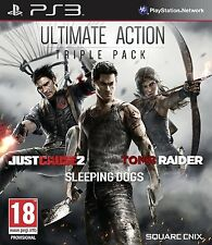 PS3 PLAYSTATION 3 ULTIMATE ACTION : JUST CAUSE 2 + SLEEPING DOGS + TOMB RAIDER
