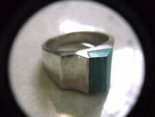 VINTAGE  925 STERLING  SILVER  MENS RING GREEN TURQUOISE 20 MM