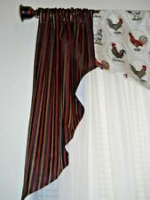 FRENCH COUNTRY~ROOSTERS~STRIPED~3 pcs~SWAG~RED~BLACK~Valance~Topper~Handmade~