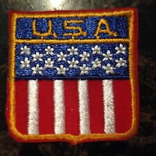 Vintage USA Stars Stripe Red White Blue Gold Patch Iron or Sew on NOS