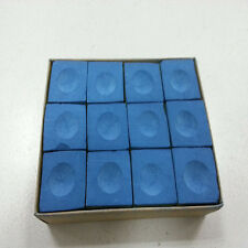 One Dozen (12 pieces) BLUE Chalk Billiard Pool Table Multicolor