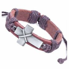 Genuine Brown Leather Chunky Christian Cross Wristband Bracelet Mens / Unisex