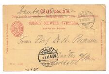 CPA ENTIER POSTAL SUISSE MUNSTER THUSIS 1898