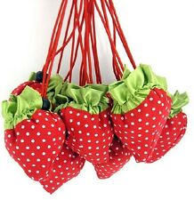 FD187 Sweet Women Girl Folding Strawberry Shopping Tote Bag Keychain Gift~1pc A