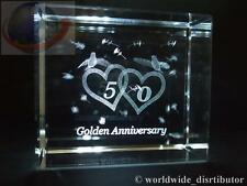 Laser crystal paperweight mariage 50th golden anniversary 3694 présentation boxe