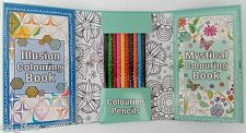 Travel Colouring Book Set Pencils kids therapy antistress A5 gift Flower Ilusion