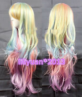 Multi-Color Wig Mixed Rainbow Lolita Big Wavy Curly Long Anime Cosplay wigs