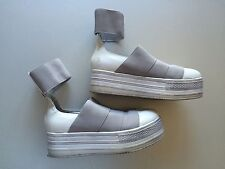 Fessura Platform Shoes sz 8, gray white leather ankle band sneaker unif buffalo