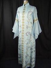 ALFRED SHAHEEN Vtg 70s Blue Oriental Long Dress w/Bell Sleeve-Bust 36/ XS-S
