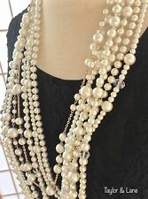 KENNETH JAY LANE Multi-Strand Cascading Glass Pearl Crystal Necklace NWT