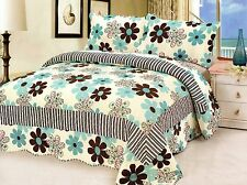3 Piece Set Cal King Size Quilted Bedspread Floral Flowers Floral Quilt W Shams